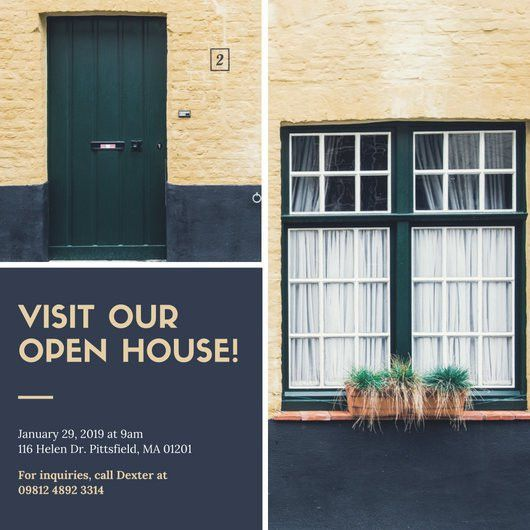 Navy Blue Photo Open House Invitation - Templates by Canva