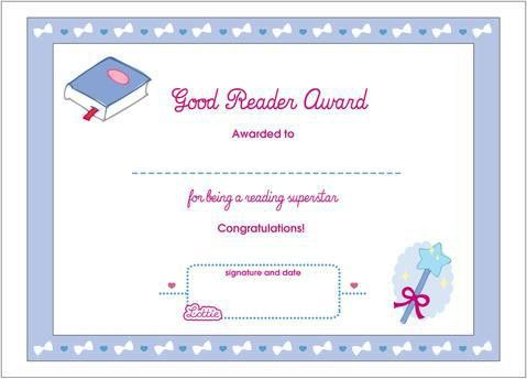 Good Reader Printable Award Certificate – Lottie Dolls