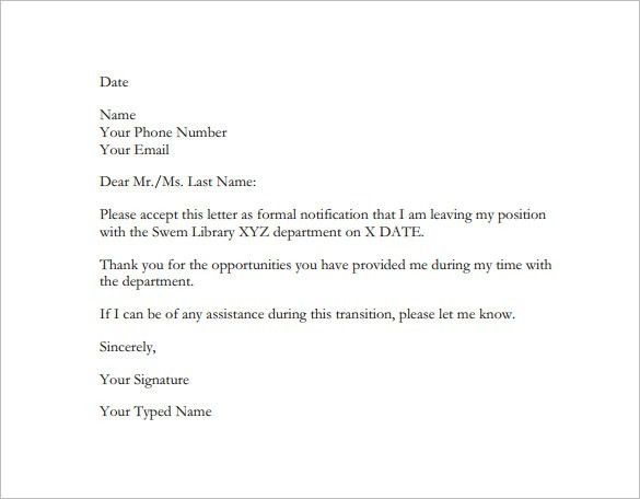 Resignation Letter Sample India - Compudocs.us