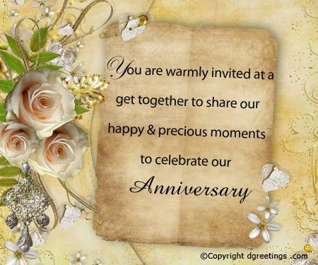 Anniversary Invitation Wording, Free Anniversary Invitation Wording