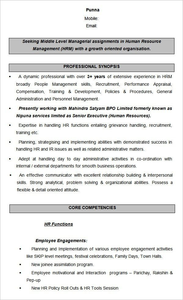 resume format for hr 40 hr resume cv templates hr templates free