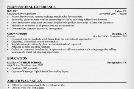 cashier resume template entry level. customer service cashier ...