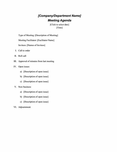 Free Download Agendas Templates Formal Meeting Agenda Template Doc ...