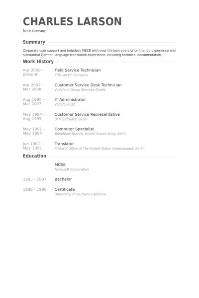 Field Service Technician Resume samples - VisualCV resume samples ...