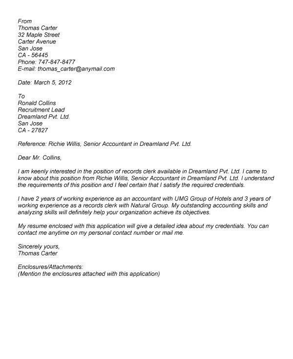 Medical Clerk Cover Letter Reception Cover Letter Spa - Record clerk cover letter