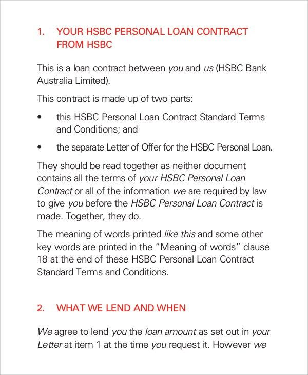 Sample Loan Contract - 7+ Documents in PDF