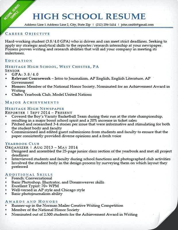 Resume Examples High School – Okurgezer.co