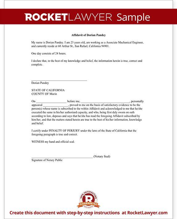 printable general affidavit template