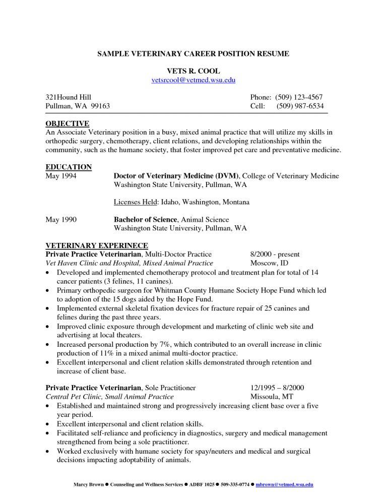 Resume Veterinarian Template. Animal Science Student Resume In ...