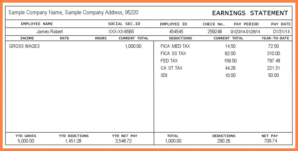 8+ pay stub templates free | Securitas Paystub