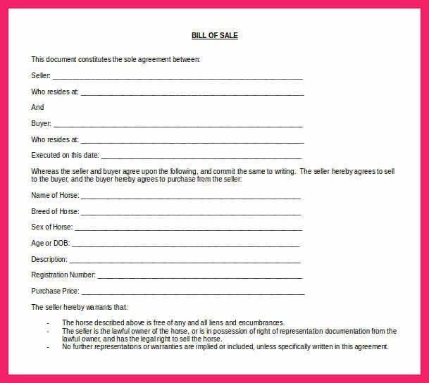 bill of sale trade template | bio letter format