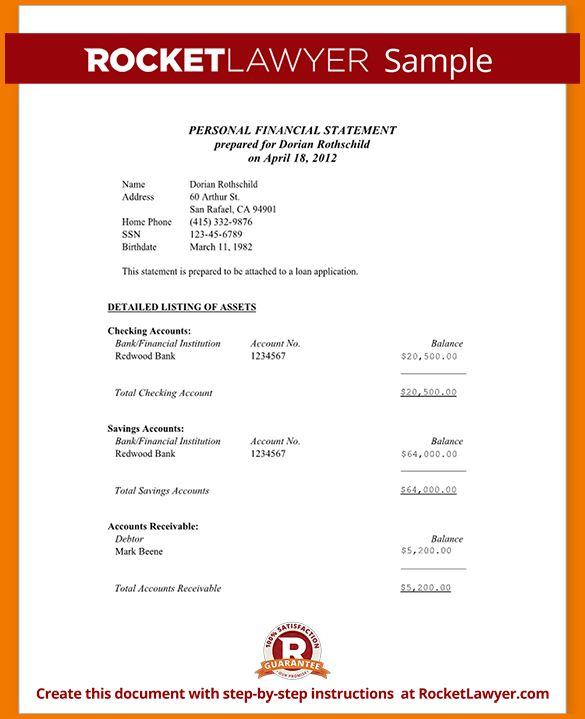 13 sample financial statement   Financial Statement Form