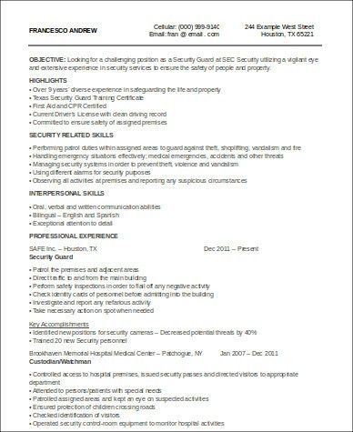 Sample Security Officer Resume - 8+ Examples in Word, PDF
