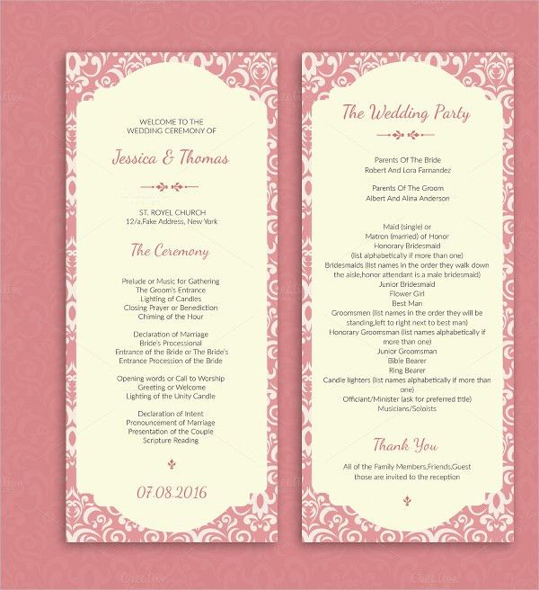 18+ Wedding Program Templates - Free PSD, AI, EPS Format Download ...