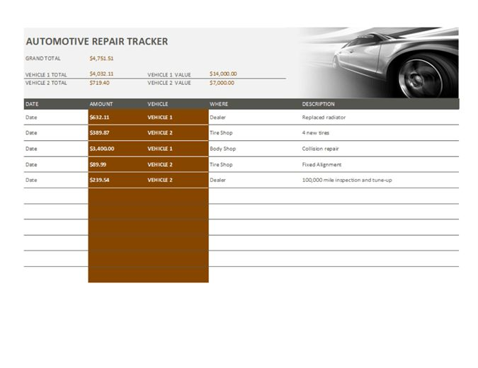 Car repair tracker - Office Templates