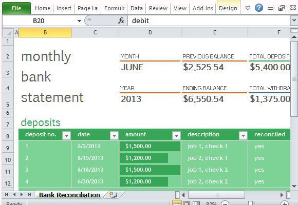 Monthly Bank Reconciliation Template For Excel