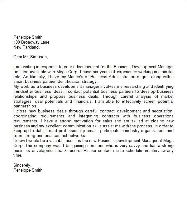 business cover letter sample. basic business manager cover letter ...