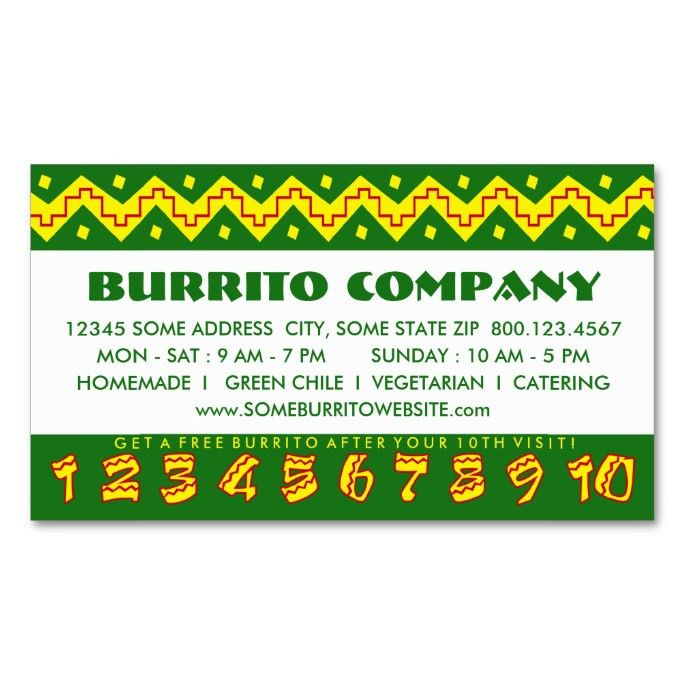 arriba buritto (loyalty punch card) Double-Sided standard business ...