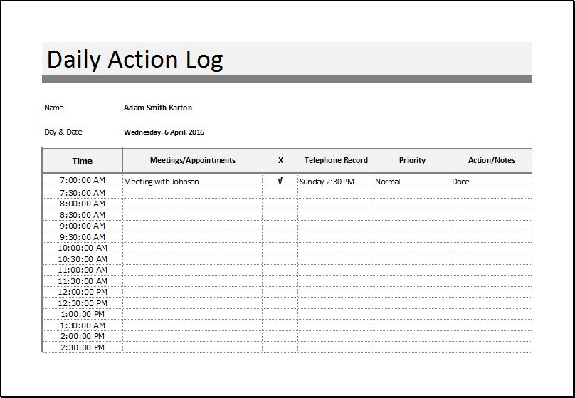 Sales Log | Food Nutrition and Action Log Templates | Word & Excel ...