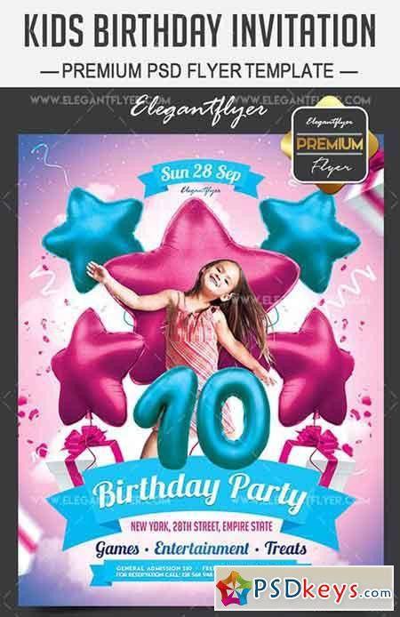 Kids Birthday Invitation – Flyer PSD Template + Facebook Cover ...