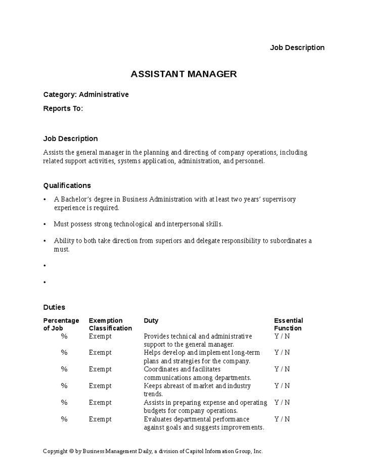 Assistant Manager Job Description - Hashdoc
