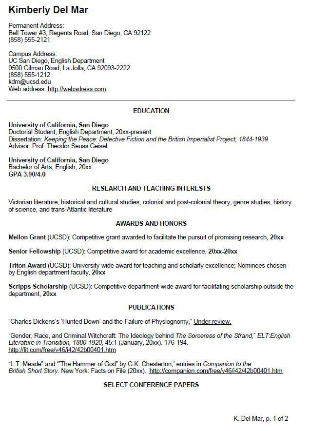 English CV Sample | Writing Your Curriculum Vitae | resume ...
