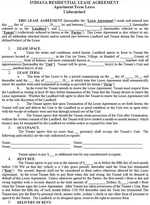 Indiana Residential Tenancy Lease Agreement Indiana Rental Agreement