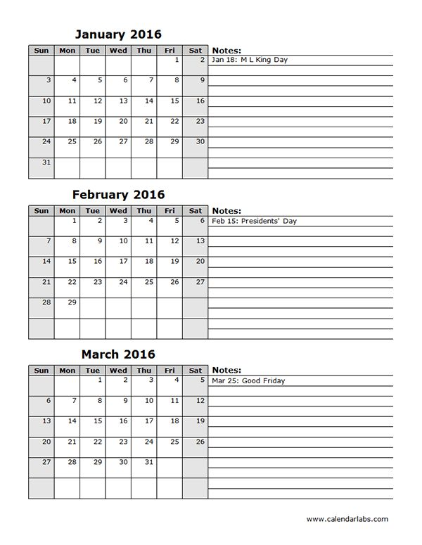 2016 Three Month Calendar Template 12L - Free Printable Templates