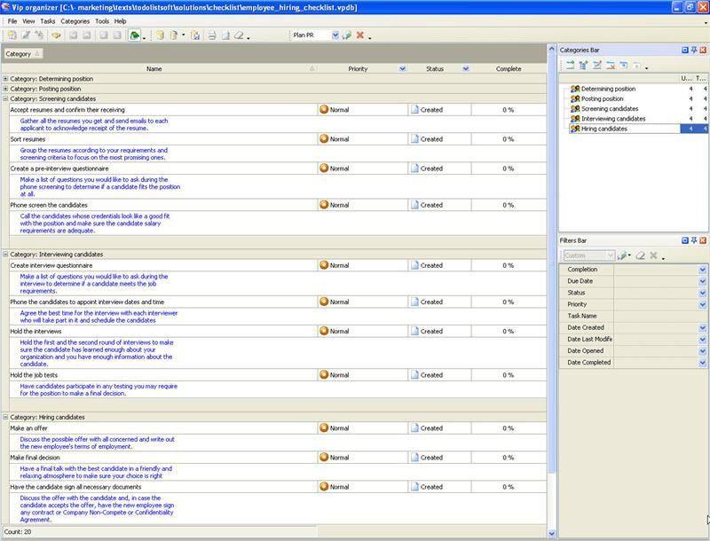 Employee Hiring Checklist - To Do List, Organizer, Checklist, PIM ...
