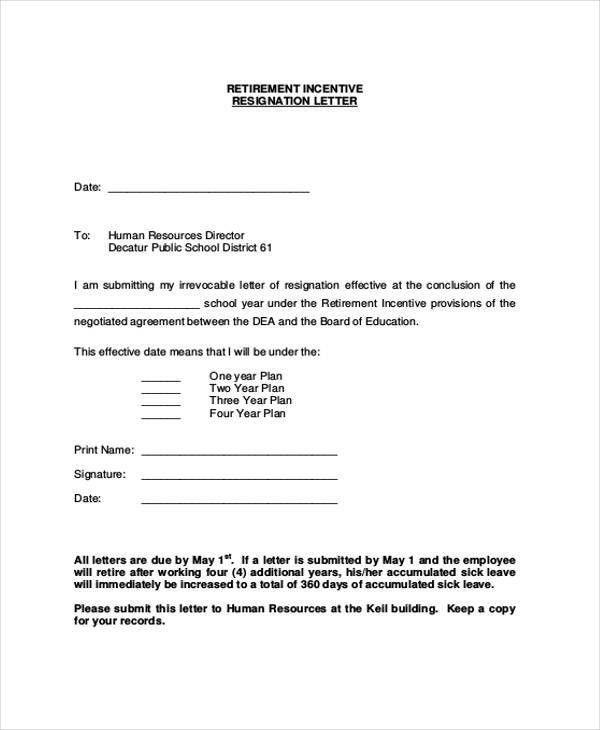 6+ Sample Retirement Resignation Letters - Free Sample, Example ...