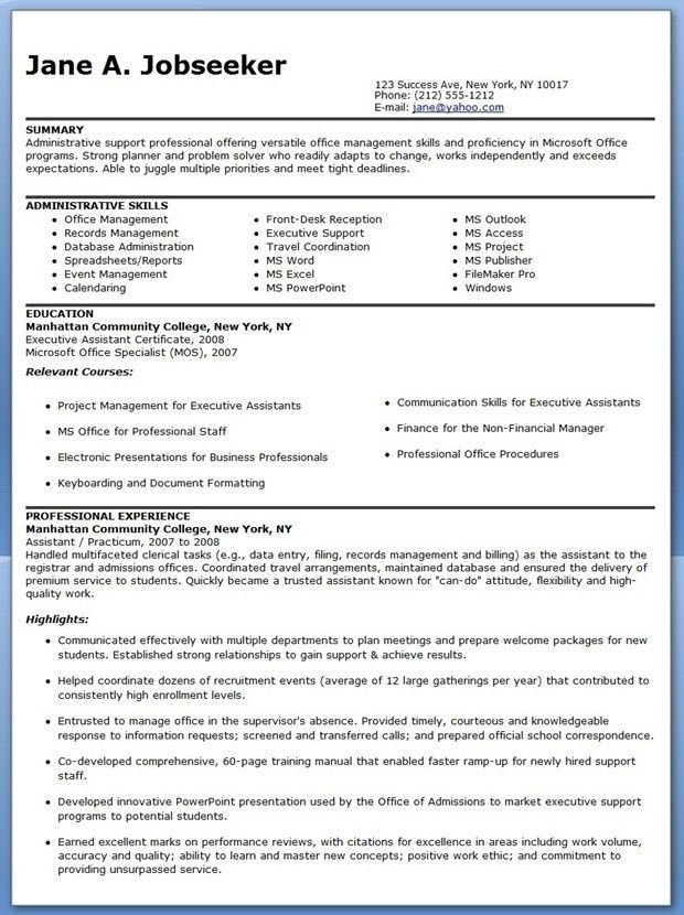 sample resume for an administrative assistant best administrative