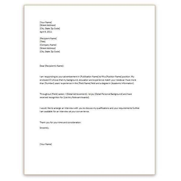 Simple Cover Letter Template For Resume | Best Recommendation ...