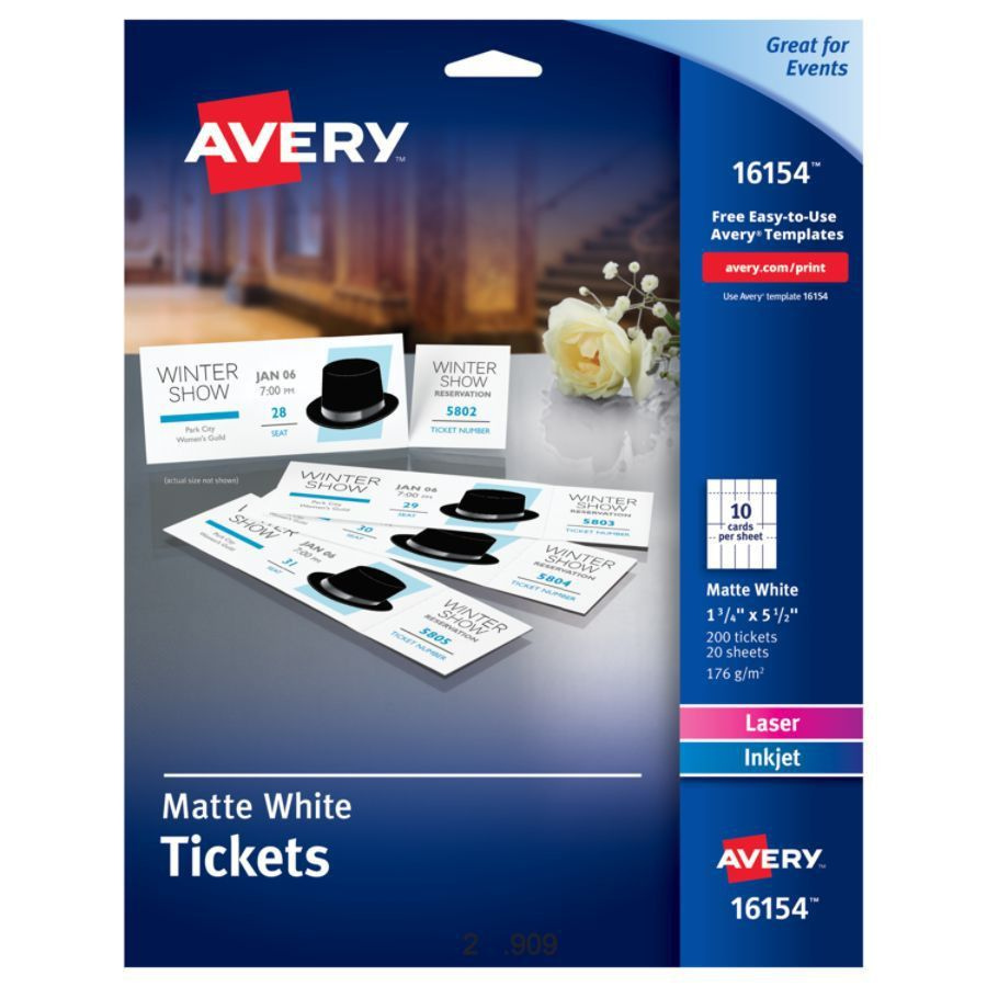 Avery Printable Tickets 1 34 x 5 12 White Pack Of 200 by Office ...