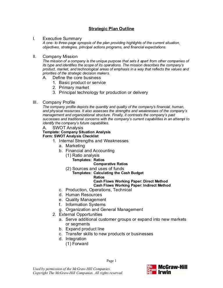 8. Strategic Plan Outline
