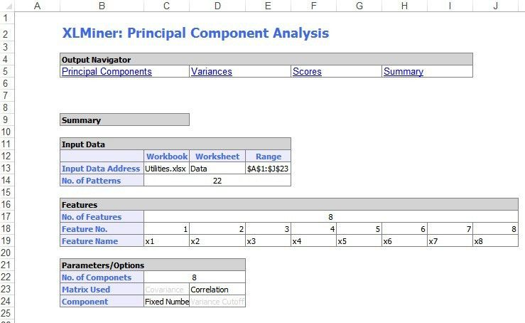 Principal Components Analysis Example | solver