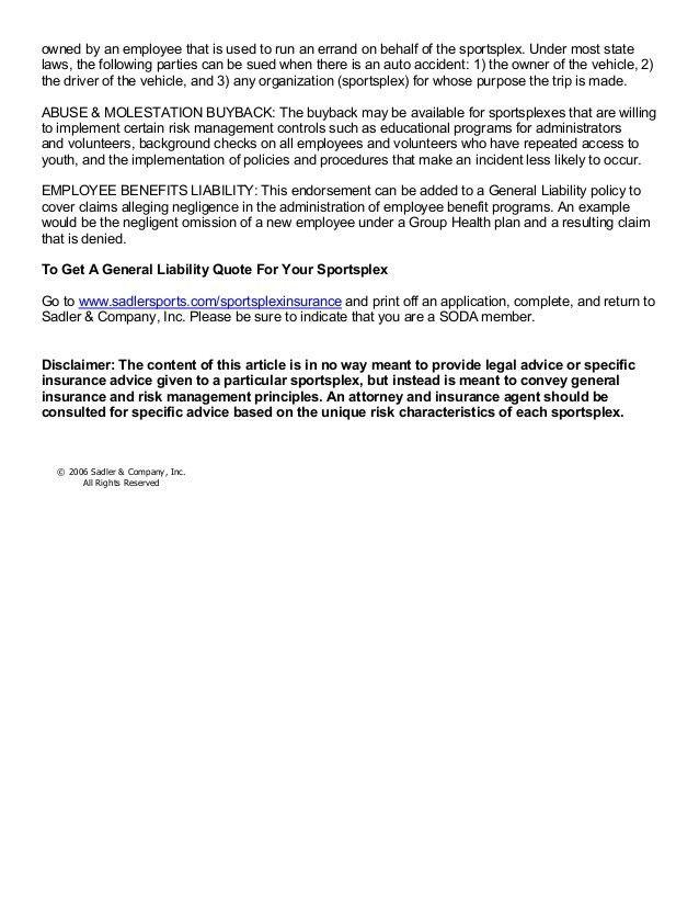 General liability concerns for sportsplexes