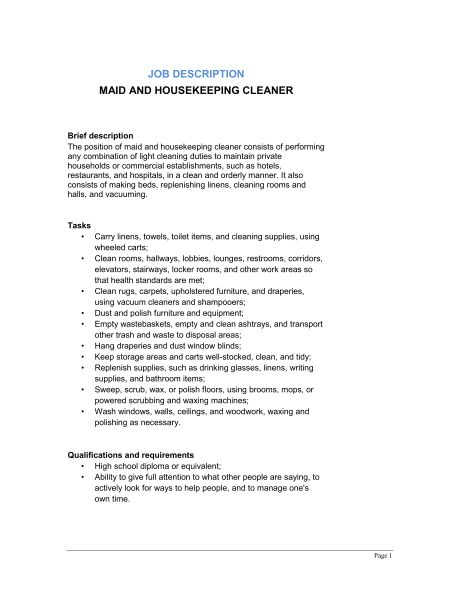 Maid and Housekeeping Cleaner Job Description - Template & Sample ...