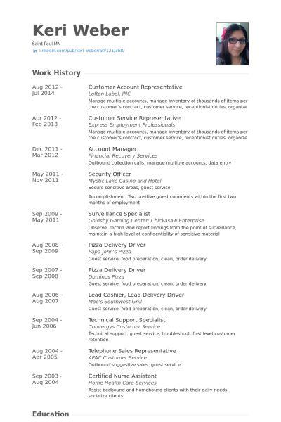 Account Representative Resume samples - VisualCV resume samples ...