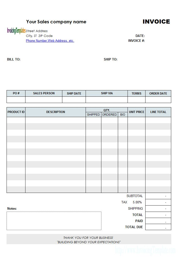 Backorder Invoice Template