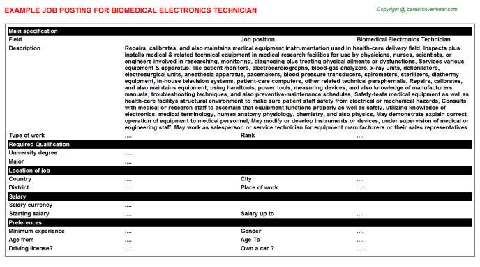 Biomedical Electronics Technician Job Title Docs