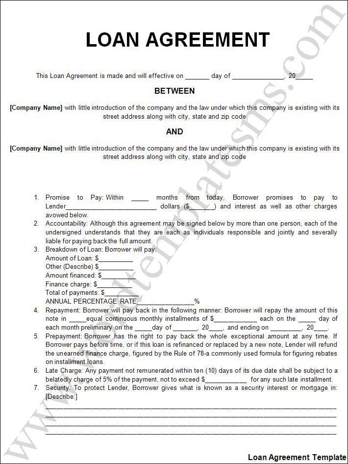 Printable Sample Personal Loan Agreement Form | Laywers Template ...