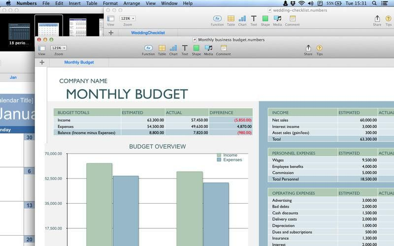 Templates for Numbers (calendar,chart,schedule,budget,business and ...