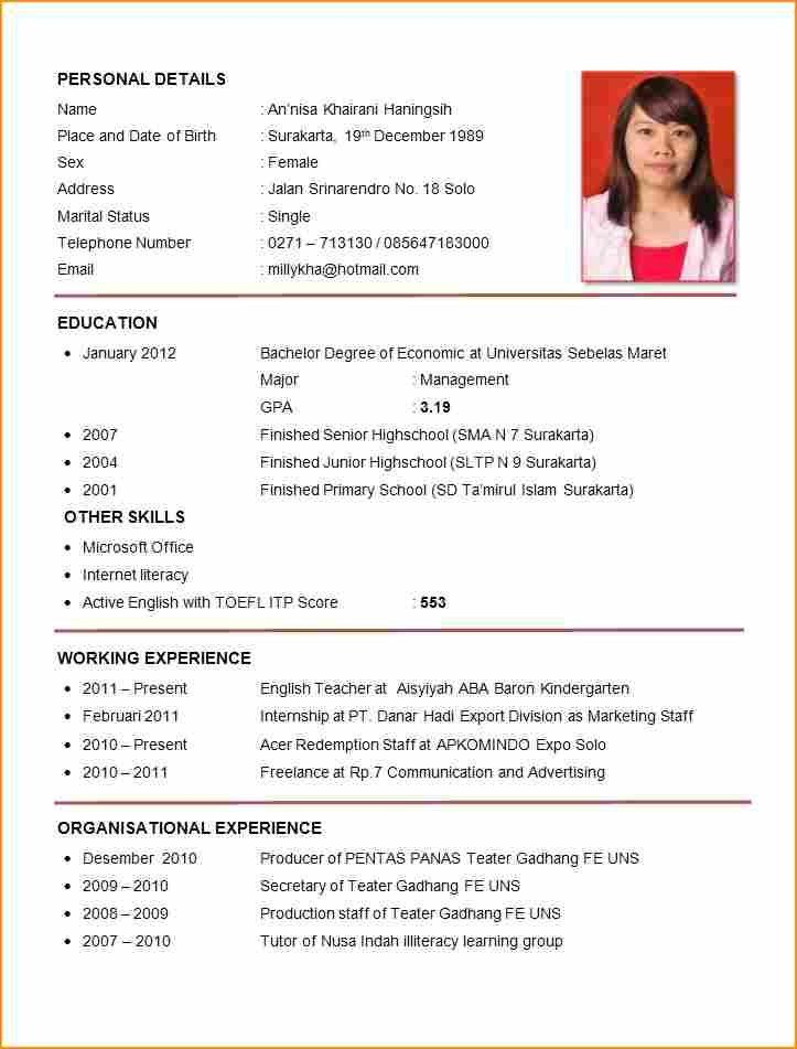 8 sample of curriculum vitae for job application pdf - Basic Job ...
