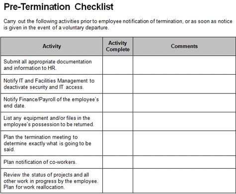 Checklist Makes Tough Task of Letting an Employee Go a Little ...