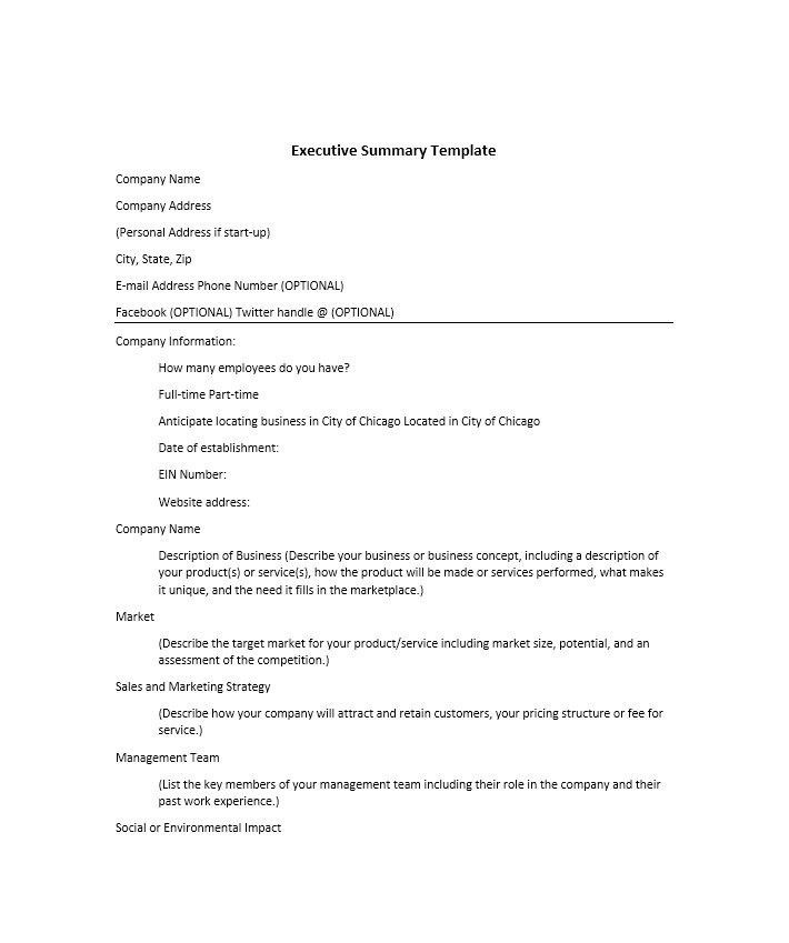 Business Summary Template. Business Case Template - Current ...