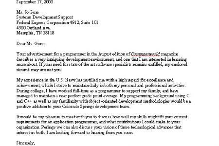 Standard Job Application Cover Letter, Typical Cover Letter for ...