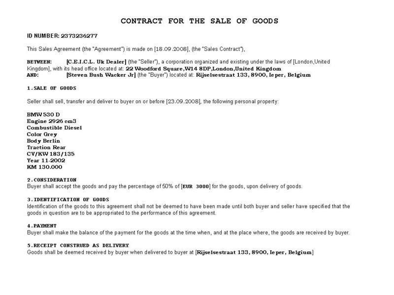 Private Car Sale Contract Payments - Template Examples