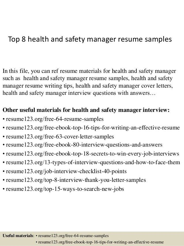 Download Safety Manager Resume | haadyaooverbayresort.com