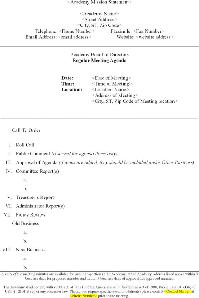 Free Board Meeting Agenda Template Word Docxpdf 3 Pages Word : Masir