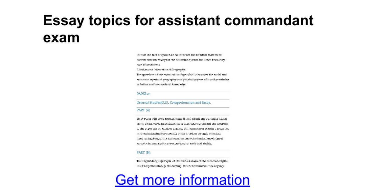Essay topics for assistant commandant exam - Google Docs